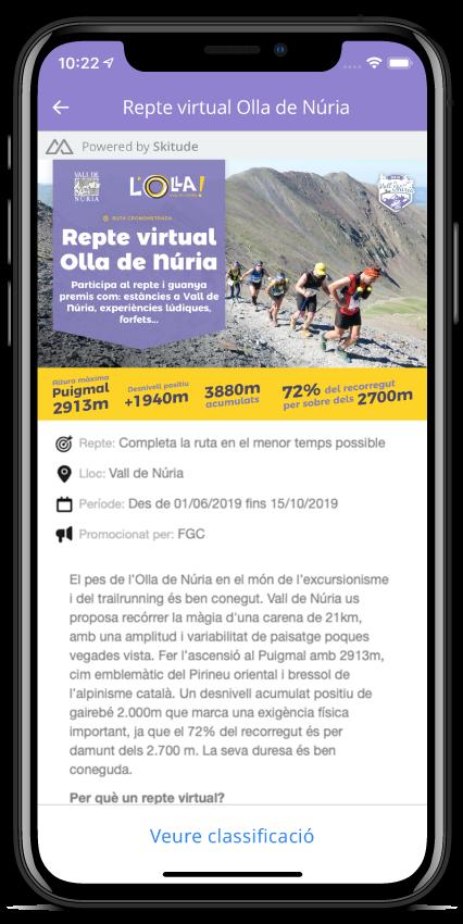 Visor mobile Cursa Virtual;